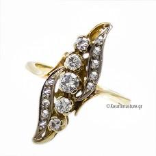 Αντικέ Δαχτυλίδι από κίτρινο και λευκό Χρυσό 18 Καρατίων με Διαμάντια