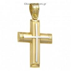 Ανδρικός Σταυρός από κίτρινο και λευκό χρυσό 14 καρατίων