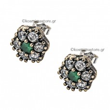 Antique silver earrings with emeralds and zircon