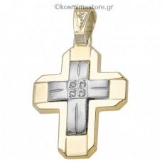 Γυναικείος Σταυρός από χρυσό 14 Καρατίων με ζιργκόν