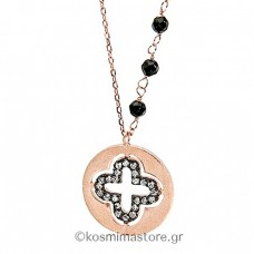 Silver 925 Cross with rose gold plated and zircon