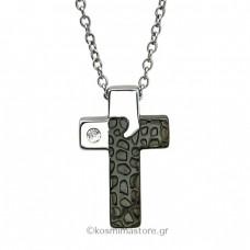 Ανδρικός Σταυρός από Ατσάλι με ζιργκόν