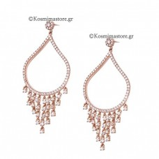 925 Silver Earrings with pink gilding and zircon