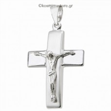 14K White Gold Cross with the Crucified
