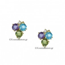 Earrings 14K Gold with Amethyst and Topaz.
