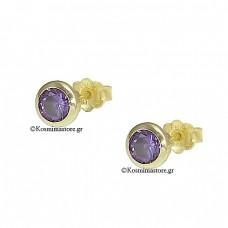 Earrings 14K Gold with Amethyst