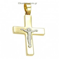 Men's Cross of yellow and white gold 14 carats