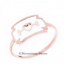 Ring 9 Carat Rose Gold with Enamel