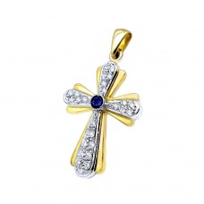Cross made of yellow and white gold 18 carat with genuine sapphire and zircon