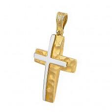 Σφυρίλατος Σταυρός φτιαγμένος απο Χρυσό 14 Καρατίων