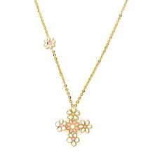 14K Gold Necklace with enamel