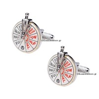 Steel cufflinks in naval telegraph shape