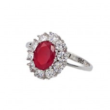 Ring in 14K whitegold with synthetic rubies and zircon.
