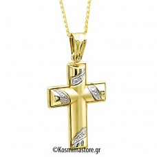 Γυναικείος δίχρωμος  Σταυρός 14 Καρατίων