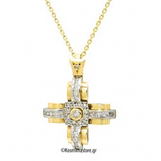 Cross made of yellow and white gold 18 carat with Diamonds