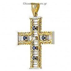 14 carat gold cross with blue sapphires