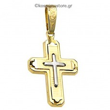 Cross of white and yellow gold 14 carats.
